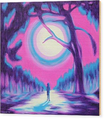 Moonlit Forest Wood Print by Casoni Ibolya