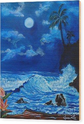 Moonlit Hawaiian Night Wood Print by Jenny Lee