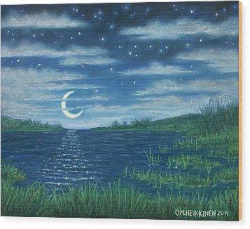 Moonlit Lagoon Wood Print