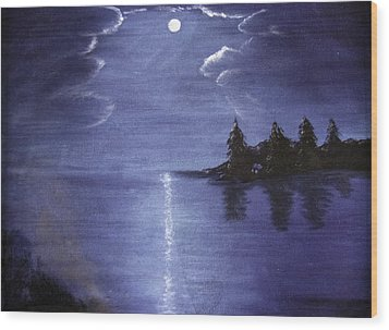 Moonlit Lake Wood Print by Judy Hall-Folde