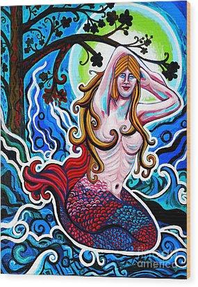 Moonlit Mermaid Wood Print by Genevieve Esson