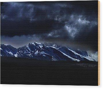 Moonlit Mountains Wood Print