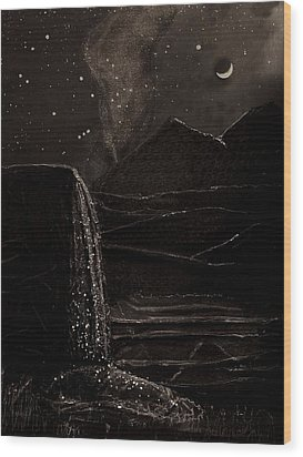 Wood Print featuring the mixed media Moonlit Night by Angela Stout