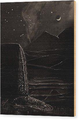 Moonlit Night Wood Print by Angela Stout
