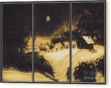 Moonlit Night Triptych Wood Print by Barbara Griffin
