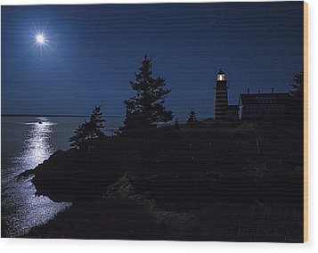 Wood Print featuring the photograph Moonlit Panorama West Quoddy Head Lighthouse by Marty Saccone