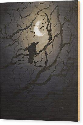 Moonlit Perch Wood Print