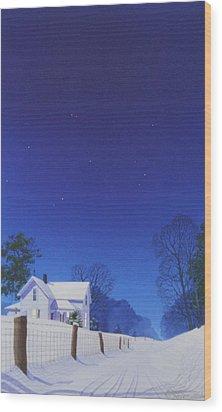 Moonlit Snowfall Wood Print