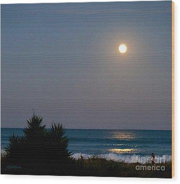 Moonlit Stroll Wood Print by Michelle Wiarda