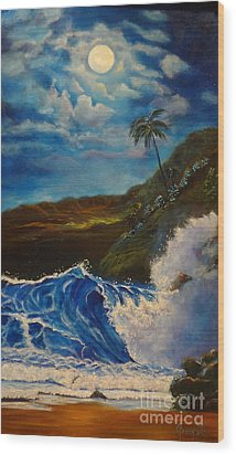 Wood Print featuring the painting Moonlit Wave 11 by Jenny Lee