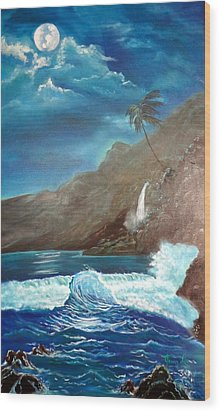 Wood Print featuring the painting Moonlit Wave by Jenny Lee