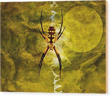 Moonlit Web Wood Print by J Larry Walker