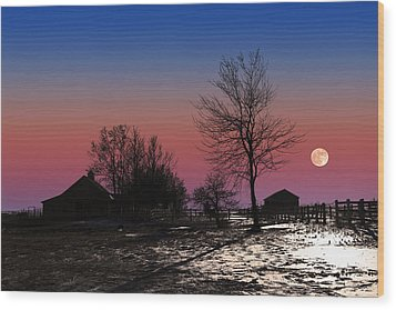 Wood Print featuring the photograph Moonrise At Sunset by Larry Landolfi