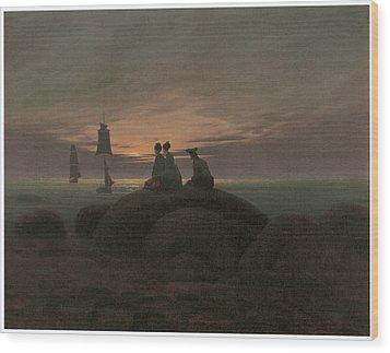 Moonrise At The Sea Wood Print by Caspar David Friedrich