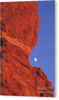 Wood Print featuring the photograph Moonrise Balanced Rock Arches National Park Utah by Dave Welling