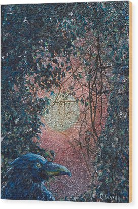 Moonrise Wood Print by Carla Woody