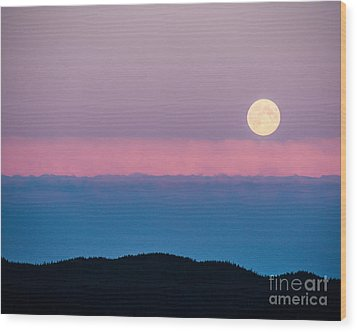 Moonrise Wood Print by Christina Klausen