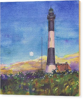 Wood Print featuring the painting Moonrise Fire Island Lighthouse by Susan Herbst