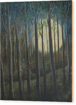 Moonrise Wood Print by FT McKinstry