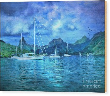 Wood Print featuring the digital art Moonrise In Mo'orea by Lianne Schneider