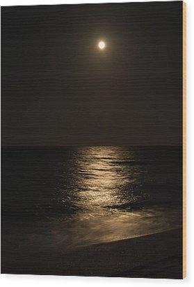 Moon Over Water Wood Print