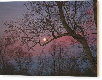 Moonrise Wood Print by Kathryn Meyer