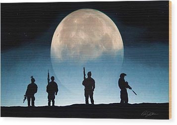 Moonrise Mission Wood Print by Peter Chilelli