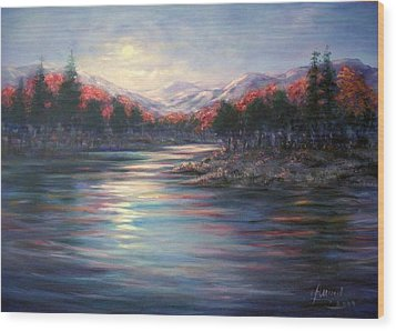 Wood Print featuring the painting Moonrise On The Lake#2 by Laila Awad Jamaleldin
