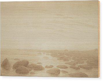 Moonrise On The Sea Wood Print by Caspar David Friedrich