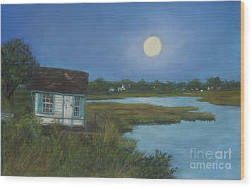 Wood Print featuring the painting Moonrise Orient Point by Susan Herbst