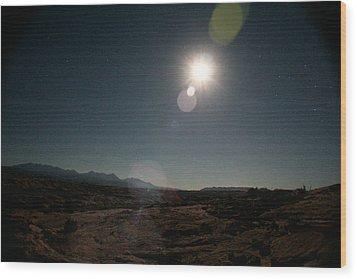 Moonrise Over Arches Wood Print