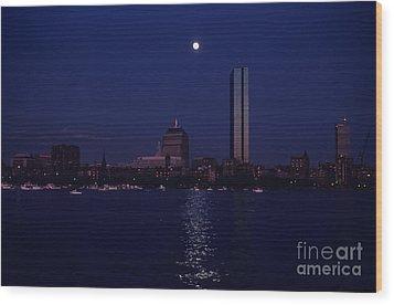 Moonrise Over Boston Skyline July 1982 Wood Print by Thomas Marchessault
