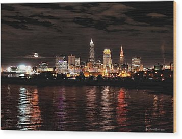 Moonrise Over Cleveland Skyline Wood Print