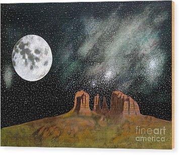 Moonrise Over Sedona Wood Print by John Lyes
