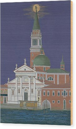 Moonrise Over Venice Wood Print by David Hinchen