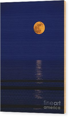 Moonrise Over Water Wood Print by Charline Xia