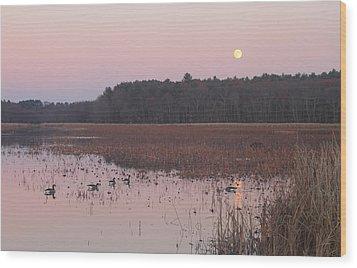 Moonrise Over Waterfowl Pond Wood Print by John Burk