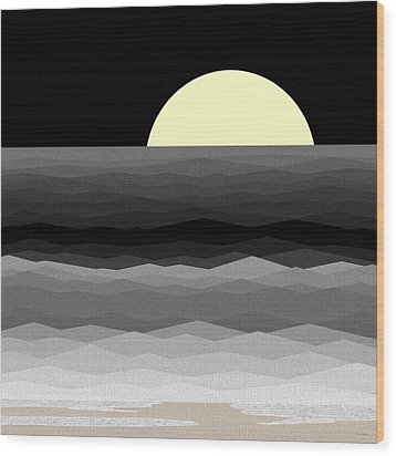 Moonrise Surf Wood Print by Val Arie