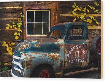 Moonshine Express Wood Print by Debra and Dave Vanderlaan