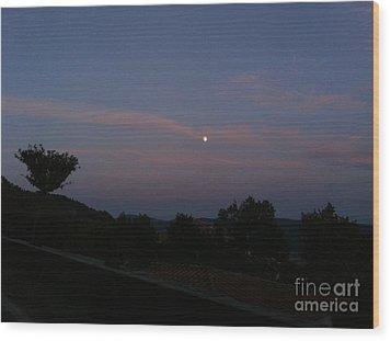 Moonshine In Cortona Wood Print
