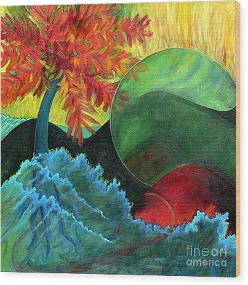 Moonstorm Wood Print by Elizabeth Fontaine-Barr