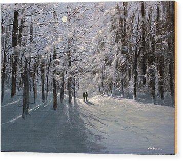 Moonwalk Wood Print by Ken Ahlering