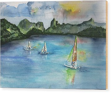 Moorea French Polynesia Island Wood Print by Sharon Mick
