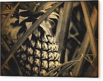 Wood Print featuring the digital art Moorea Pineapple by Milton Thompson