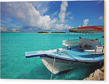 Moored Dhoni At Sun Island. Maldives Wood Print by Jenny Rainbow