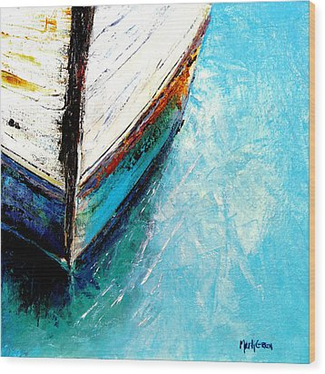 Moored Wood Print by Marti Green