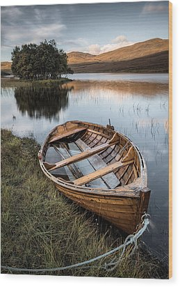 Moored On Loch Awe Wood Print