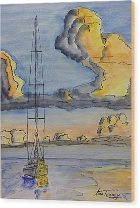 Moored Wood Print by Stan Tenney