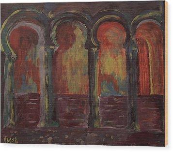Moorish Arches II Wood Print by Oscar Penalber