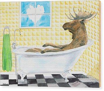Moose Bath Wood Print by LeAnne Sowa